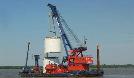 Schwertransport Elbe - KTB Buxtehude